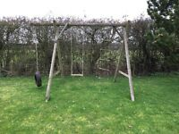 Wooden Outdoor Swing Set