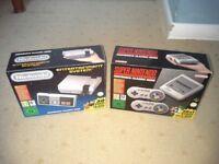 NES CLASSIC MINI + SNES CLASSIC MINI (BOTH HARDLY USED/AS NEW)
