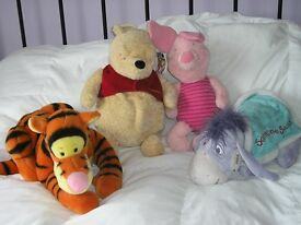 SOFT TOYS (large) - POOH BEAR, TIGGER, EEYORE AND PIGLET