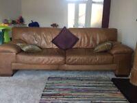 Three piece sofa - Brown leather
