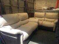 Cream leather reclining sofa