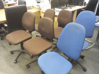 6 Office Chairs in brown or blue fabric height & back adjustable