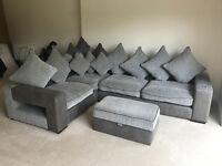 Grey corner sofa with iPod music dock