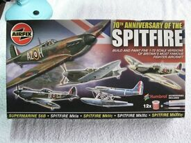 Airfix 70th Aniversary of the Spitfire model kit collection.