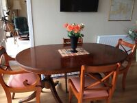 Yew table & 8 chairs & matching corner unit