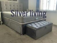 Brand new luxury bed double steel plush 2 draws £299