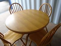SOLID PINE ROUND TABLE & 4 CHAIRS FOR SALE.