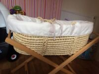 Mama and papas Moses basket and stand for sale