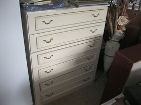 ORNATE CREAM LOUIS XV STYLE CHEST OF DRAWERS. 6 DRAWERS. VIEWING/DELIVERY AVAILABLE