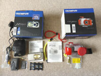 Olympus MJU 400 compact camera and waterproof case