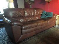 Brown Leather Three Seater Sofa