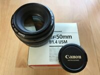 Canon 50mm 1.4 Prime Lens with Original Box EXCELLENT COND.