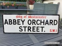 1940s City of Westminster Abbey Orchard Street SW1 London Road Enamel Sign Large