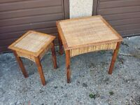Cane conservatory side coffee tables pair of