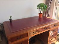 Antique Style Victorian Regal Red Leather Topped Pedestal Writer's Desk