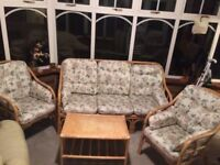 cane 3 piece suite with coffee table