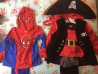 Spider man and pirate costumes