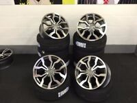 "NEW 18"" 5x100 ALLOYS WHEELS + TYRES GOLF SEAT IBIZA POLO A1 S1 AUDI VW BORA PASSAT S LINE R8 A3 TT"