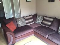 Brown Corner Sofa and Large Twister Chair with Half Moon Footstool
