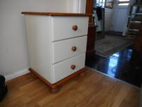 pine and cream three drawer bed side chest of drawers