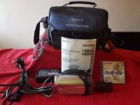 Sony DCR-DVD92E Handycam with accessories.