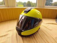 BMW System 6 EVO motorcycle helmet 58/59 bluetooth comms system sun visor flouro yellow