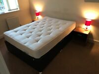 Double Bed & Mattress Black Faux Leather £250 (Bought new this year)
