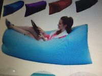 Blue inflatable air bed lounger