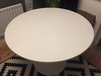 Ikea circular table, white, 105cm diameter. In good condition.