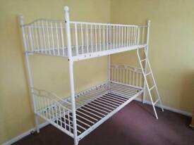 White metal bunk bed frame