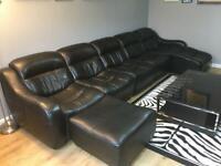 Leather 5 seater modular sofa