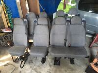 Double car seats with belts taken out of a minibus