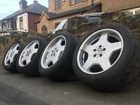 "Genuine AMG 18"" Staggered Alloy Wheels & Tyres E S C Class 5x112 VW Audi"