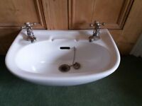 Twyfords wall hung white cloakroom basin with brass effect taps