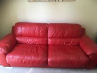 Red leather sofa - ono