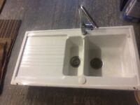 white ceramic country style kitchen sink with chrome tap, white ceramic large Bette bathroom sink.