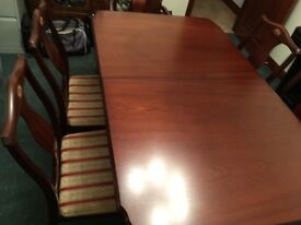 Mahogany ding table and six chairs