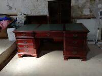 Mahogony large antique style partner pedestal desk
