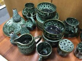 Green mottled vintage retro Cornish Wear Ceramic Tea set kitchen dining SDHC