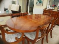 Antique Yew Dining Table and 6 chairs (2 carver chairs)