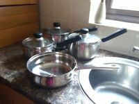Set of 3 saucepans and deep sided frying pan