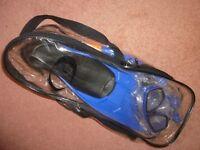 Flipper/Snorkel/Face Mask Set. Brand New, Shoe size 5-7