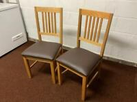 Solid Oak & 100% Leather Dining Chairs (x2)