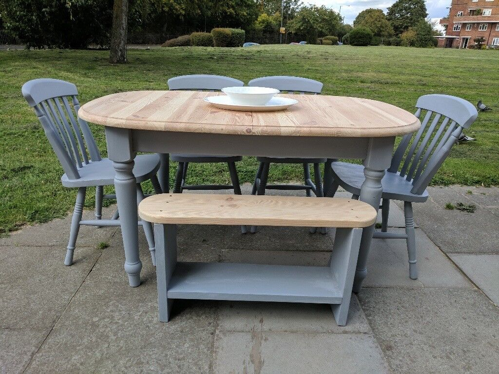Large extendable rustic farmhouse table 1 x bench 4 x chairs shabby chic grey