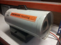 Propane gas powered fan heater for workshop, warehouse or large tent