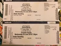 TONIGHT - DAVID BYRNE 2 x tickets - London 20/6/18 - Eventim Apollo *SOLD OUT*