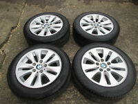 "bmw 16"" alloy wheels 5stud all tyres are like new"