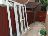 White PVC French Doors With Side Glass Panels