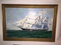 "Massive Large Vintage Oil On Canvas Seascape Painting Framed Signed "" Roland Williams c1973 """