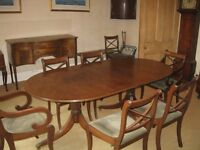 dining room table, side board and chairs